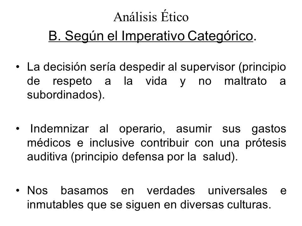 La decisión sería despedir al supervisor (principio de respeto a la vida y no maltrato a subordinados).