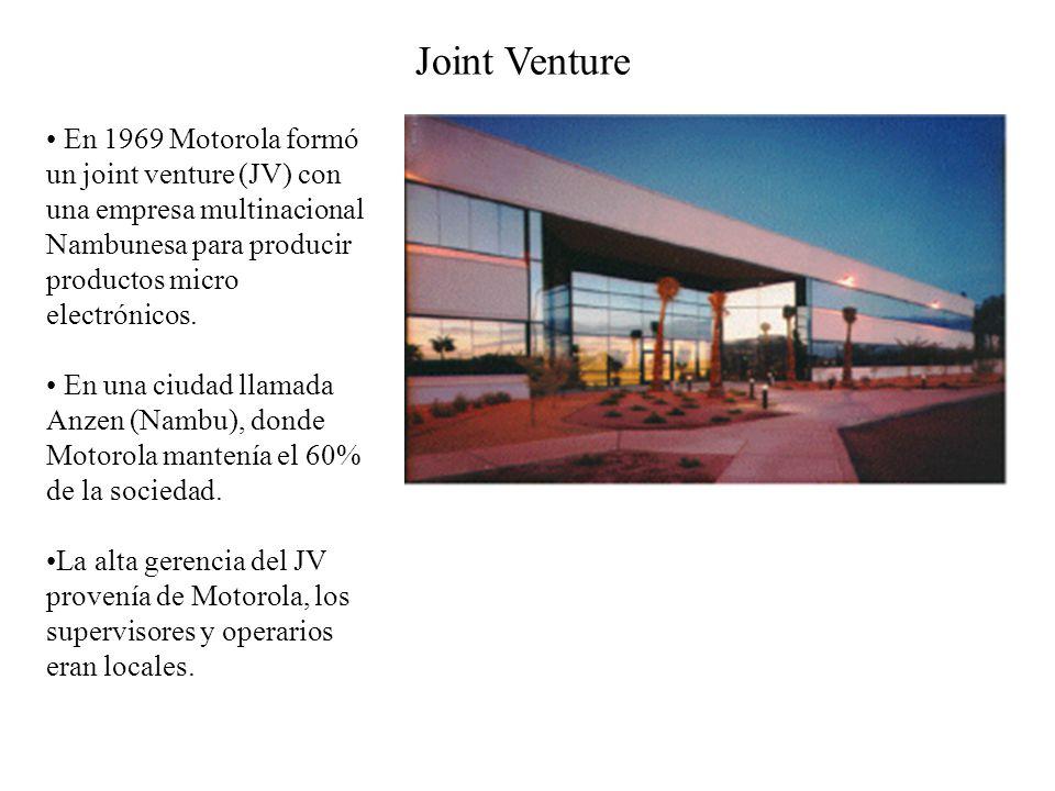 En 1969 Motorola formó un joint venture (JV) con una empresa multinacional Nambunesa para producir productos micro electrónicos.
