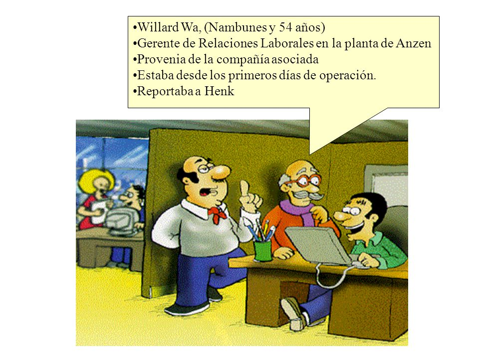 Los Actores principales Willard Wa, (Nambunes y 54 años) Gerente de Relaciones Laborales en la planta de Anzen Provenia de la compañía asociada Estaba desde los primeros días de operación.