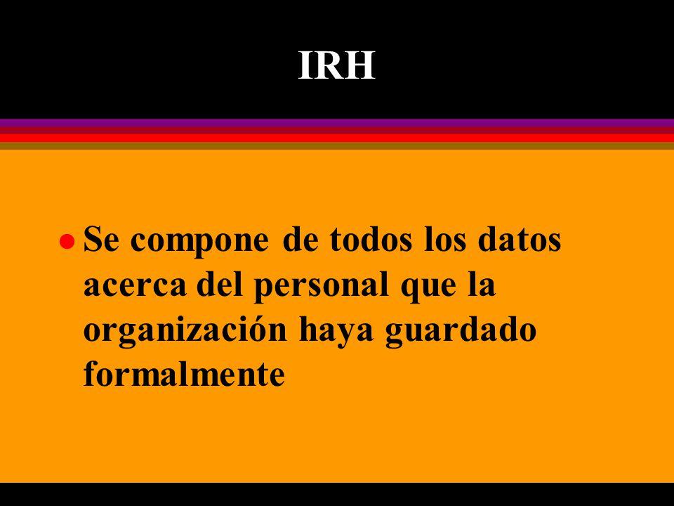 IRH l Se compone de todos los datos acerca del personal que la organización haya guardado formalmente