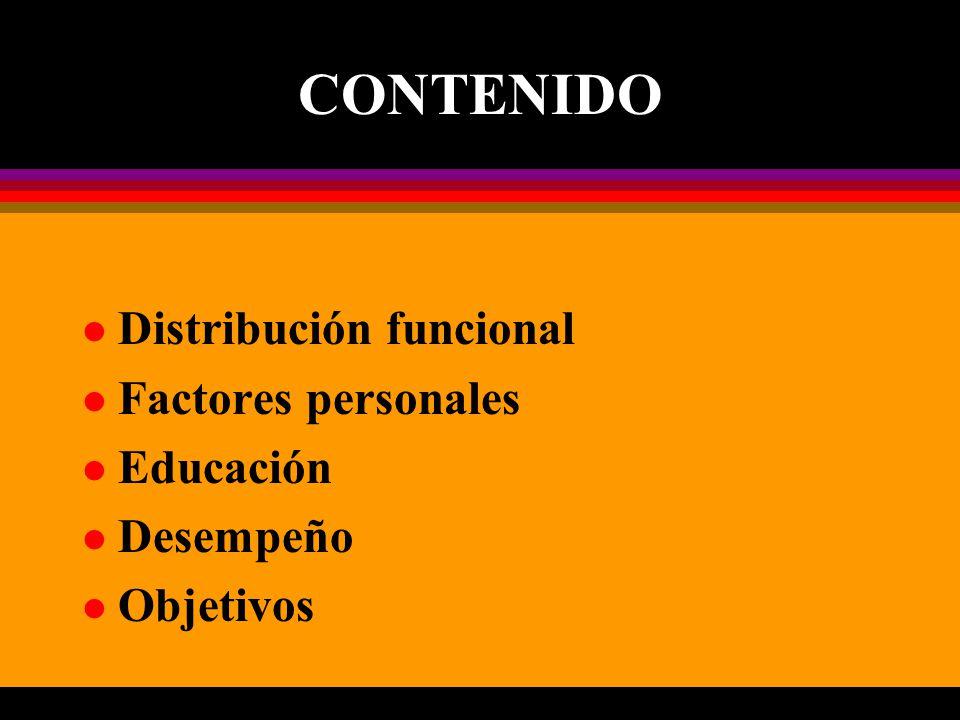 CONTENIDO l Distribución funcional l Factores personales l Educación l Desempeño l Objetivos