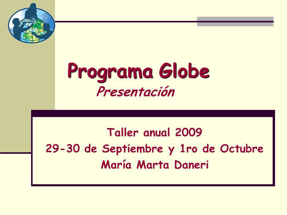 ProgramaGlobe Programa Globe Taller anual 2009 29-30 de Septiembre y 1ro de Octubre María Marta Daneri Presentación