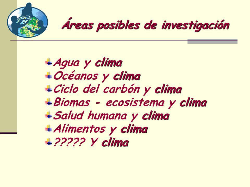 Áreas posibles de investigación Agua y c cc clima Océanos y c cc clima Ciclo del carbón y c cc clima Biomas - ecosistema y c cc clima Salud humana y c cc clima Alimentos y c cc clima ????.