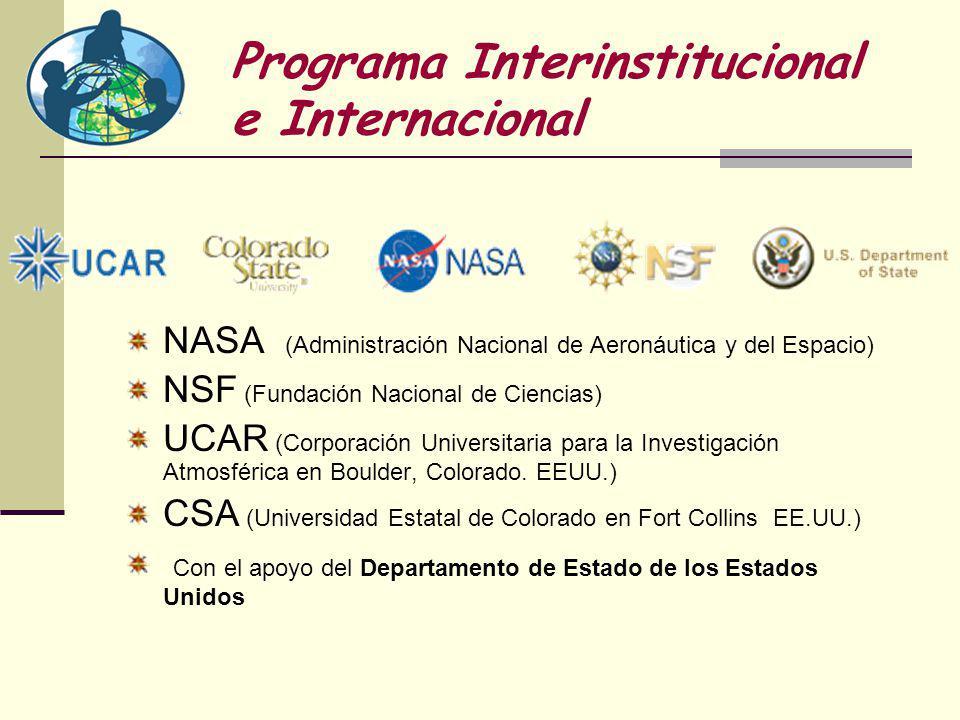 Programa Interinstitucional e Internacional NASA (Administración Nacional de Aeronáutica y del Espacio) NSF (Fundación Nacional de Ciencias) UCAR (Corporación Universitaria para la Investigación Atmosférica en Boulder, Colorado.