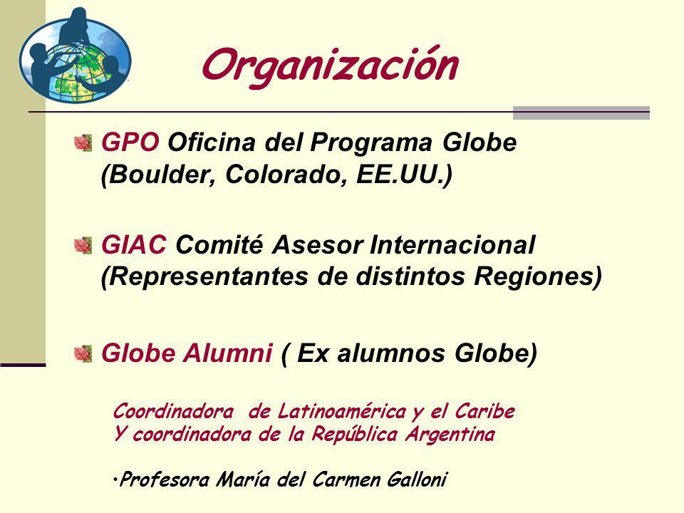 Organización GPO Oficina del Programa Globe (Boulder, Colorado, EE.UU.) GIAC Comité Asesor Internacional (Representantes de distintos Regiones) Globe Alumni ( Ex alumnos Globe) Coordinadora de Latinoamérica y el Caribe Y coordinadora de la República Argentina Profesora María del Carmen Galloni