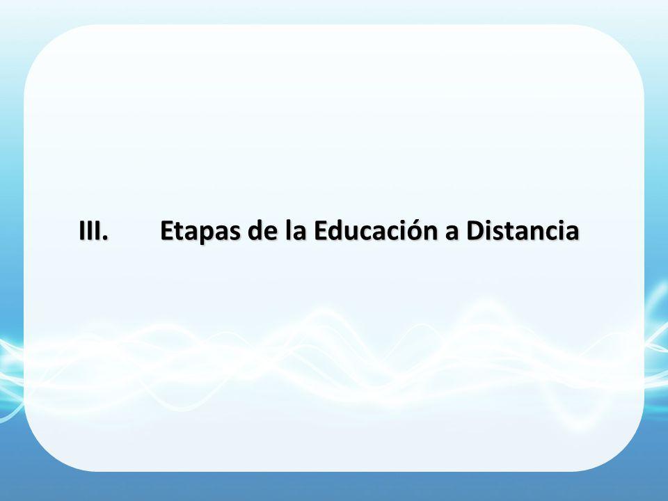 III.Etapas de la Educación a Distancia