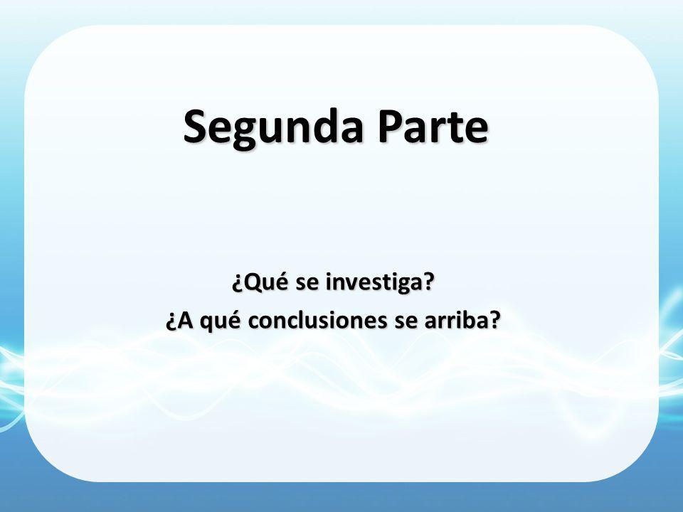 Segunda Parte ¿Qué se investiga? ¿A qué conclusiones se arriba?