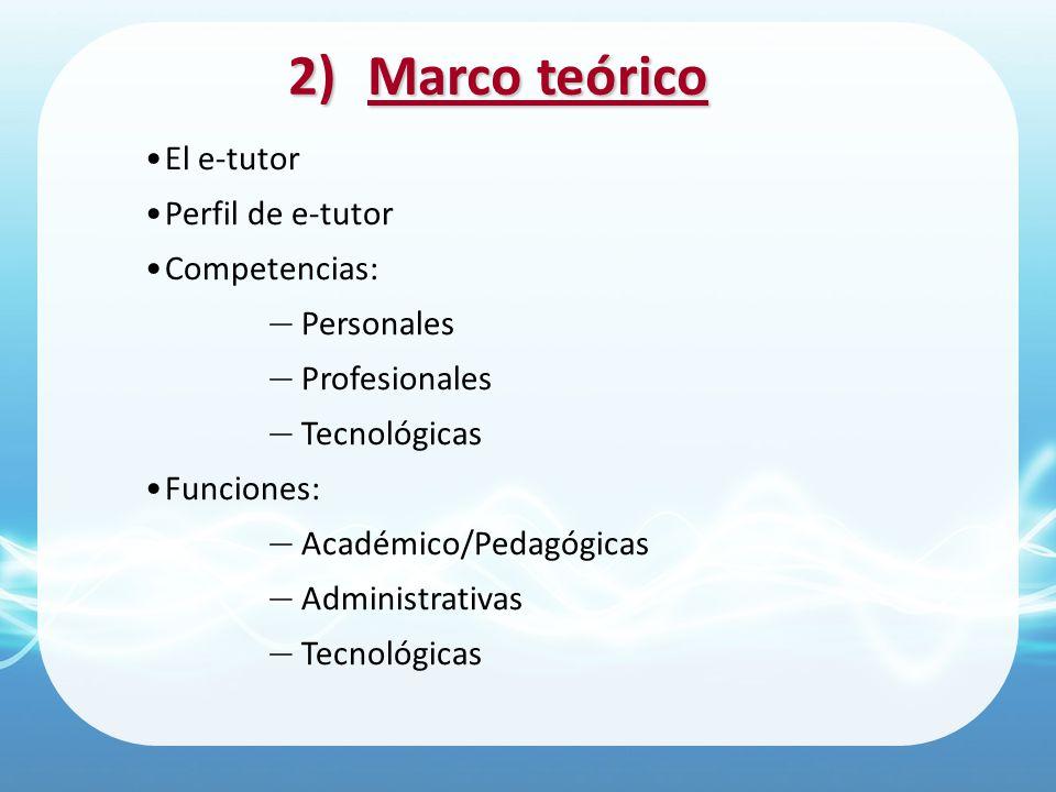 2)Marco teórico El e-tutor Perfil de e-tutor Competencias: Personales Profesionales Tecnológicas Funciones: Académico/Pedagógicas Administrativas Tecn