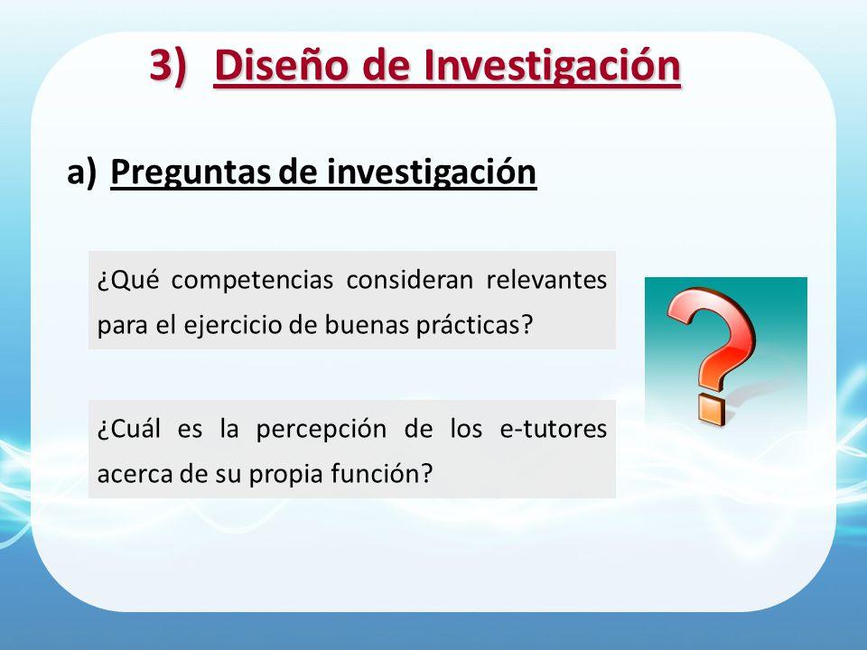 3)Diseño de Investigación ¿Cuál es la percepción de los e-tutores acerca de su propia función? a)Preguntas de investigación ¿Qué competencias consider