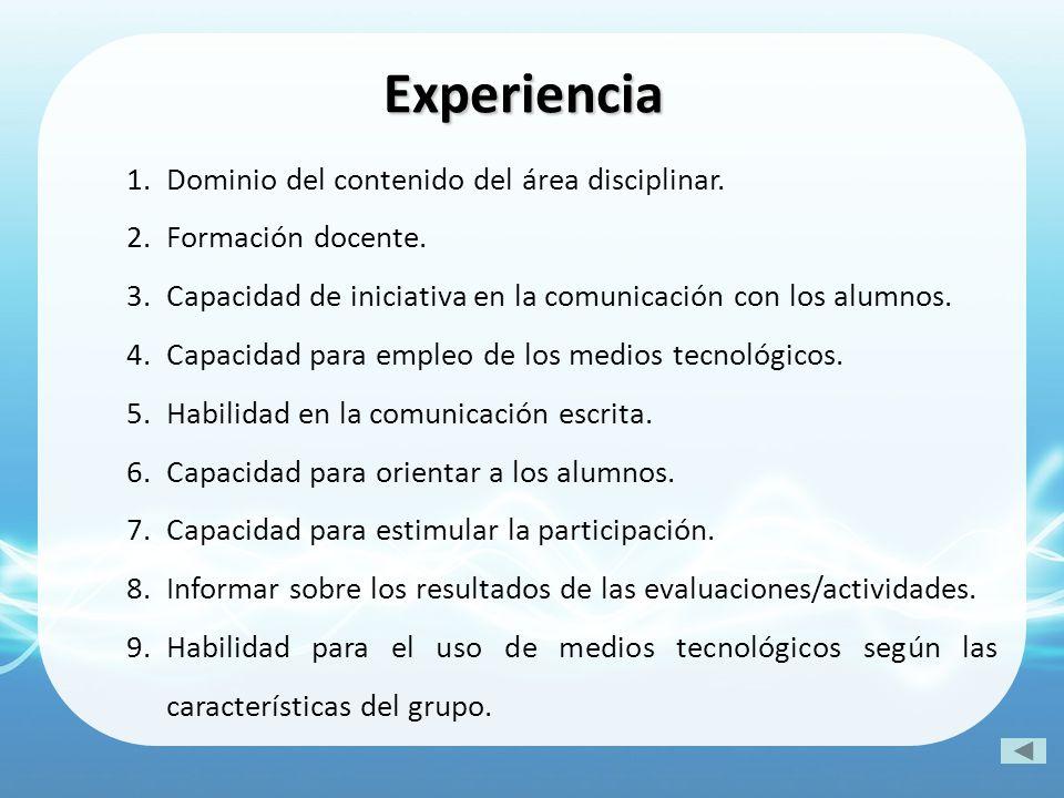 1.Dominio del contenido del área disciplinar. 2.Formación docente. 3.Capacidad de iniciativa en la comunicación con los alumnos. 4.Capacidad para empl