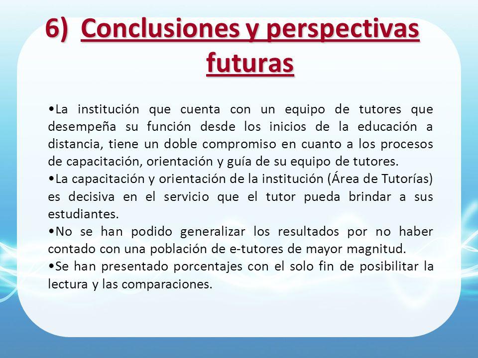 6)Conclusiones y perspectivas futuras La institución que cuenta con un equipo de tutores que desempeña su función desde los inicios de la educación a