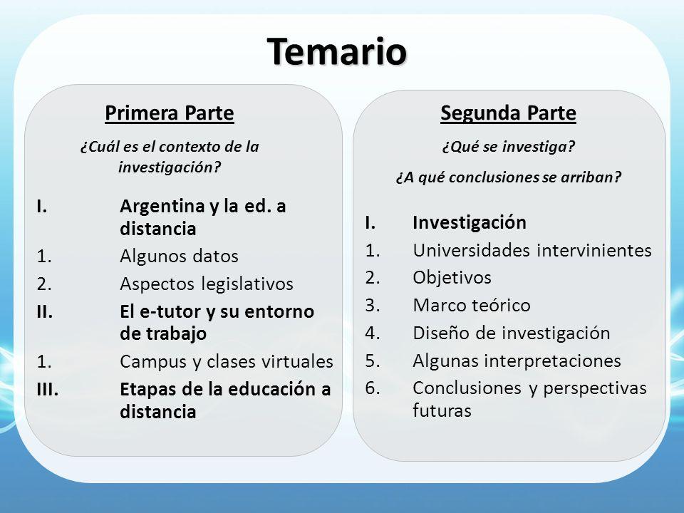 Temario I.Argentina y la ed. a distancia 1.Algunos datos 2.Aspectos legislativos II.El e-tutor y su entorno de trabajo 1.Campus y clases virtuales III