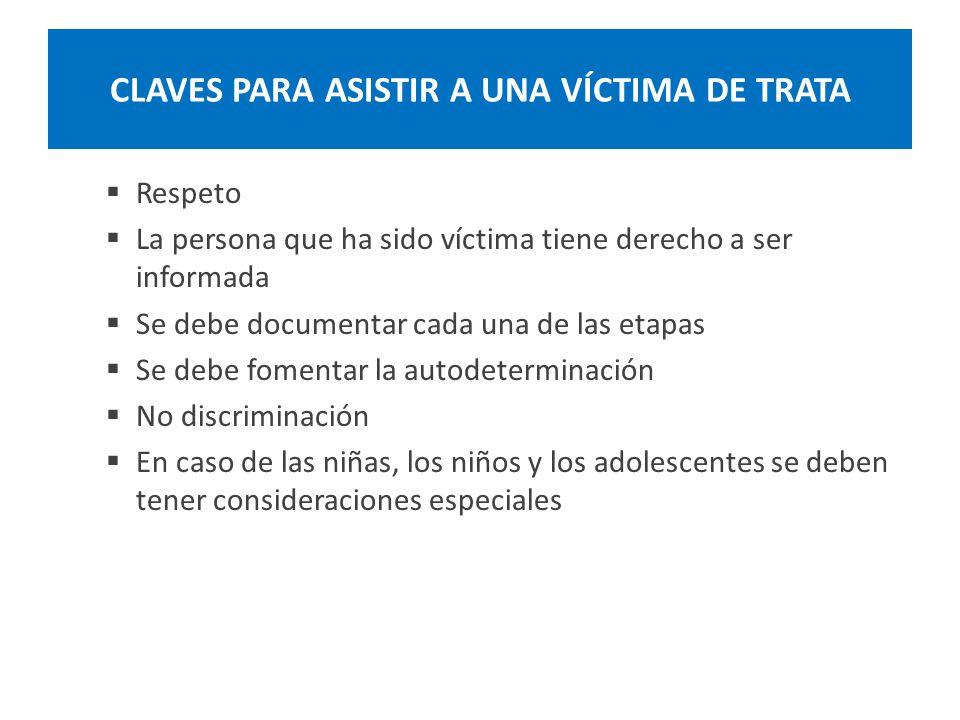 CLAVES PARA ASISTIR A UNA VÍCTIMA DE TRATA Respeto La persona que ha sido víctima tiene derecho a ser informada Se debe documentar cada una de las eta