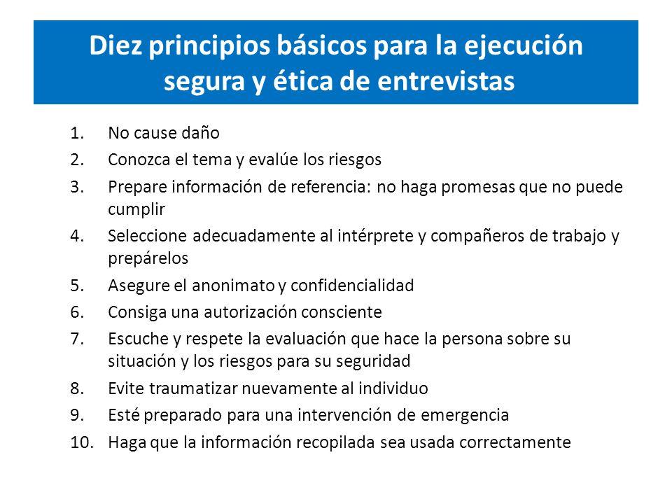 Diez principios básicos para la ejecución segura y ética de entrevistas 1.No cause daño 2.Conozca el tema y evalúe los riesgos 3.Prepare información de referencia: no haga promesas que no puede cumplir 4.Seleccione adecuadamente al intérprete y compañeros de trabajo y prepárelos 5.Asegure el anonimato y confidencialidad 6.Consiga una autorización consciente 7.Escuche y respete la evaluación que hace la persona sobre su situación y los riesgos para su seguridad 8.Evite traumatizar nuevamente al individuo 9.Esté preparado para una intervención de emergencia 10.Haga que la información recopilada sea usada correctamente