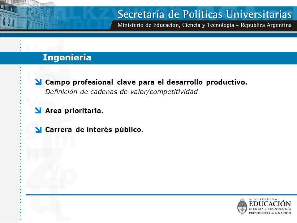 Campo profesional clave para el desarrollo productivo. Definición de cadenas de valor/competitividad Area prioritaria. Carrera de interés público. Ing