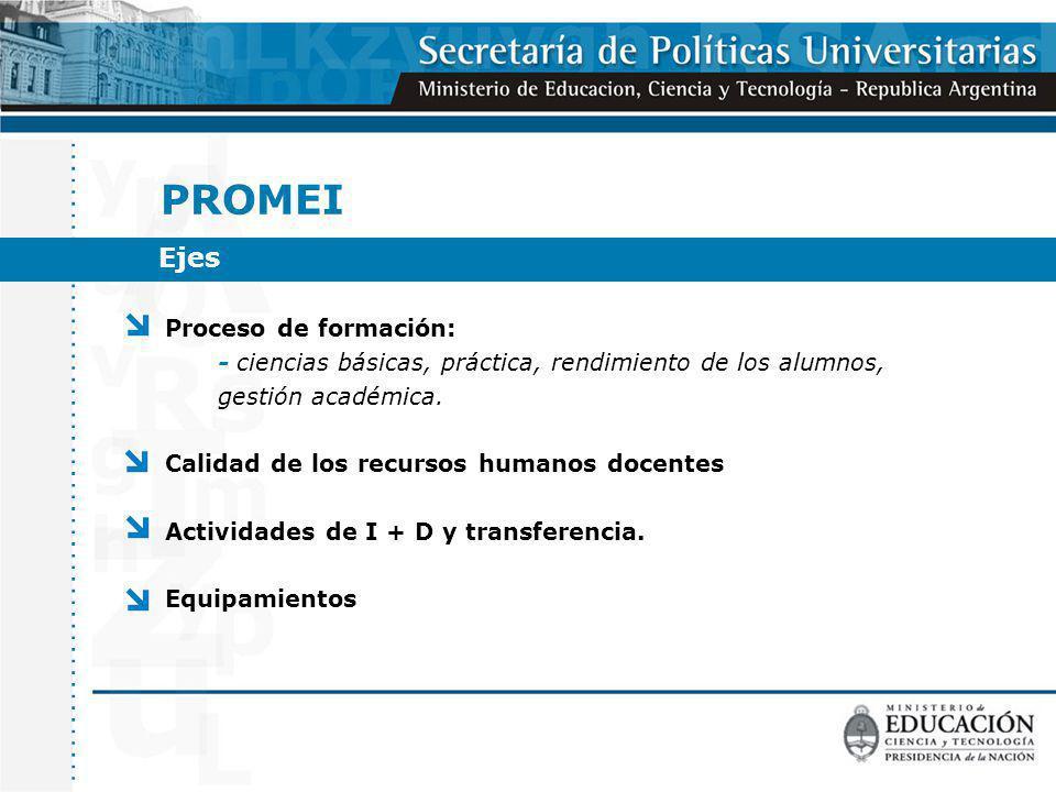 Proceso de formación: - ciencias básicas, práctica, rendimiento de los alumnos, gestión académica.