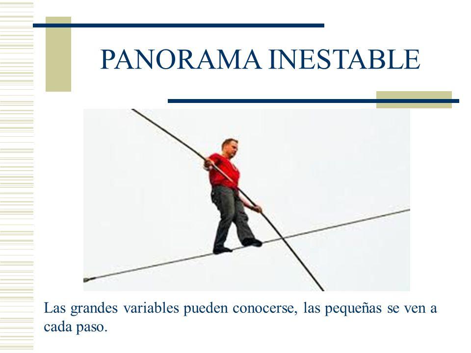 PANORAMA INESTABLE Las grandes variables pueden conocerse, las pequeñas se ven a cada paso.