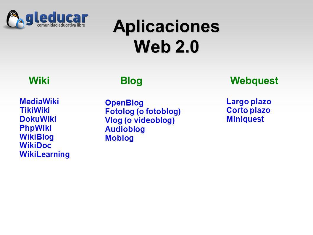 Aplicaciones Web 2.0 Wiki MediaWiki TikiWiki DokuWiki PhpWiki WikiBlog WikiDoc WikiLearning Blog OpenBlog Fotolog (o fotoblog) Vlog (o videoblog) Audioblog Moblog Webquest Largo plazo Corto plazo Miniquest