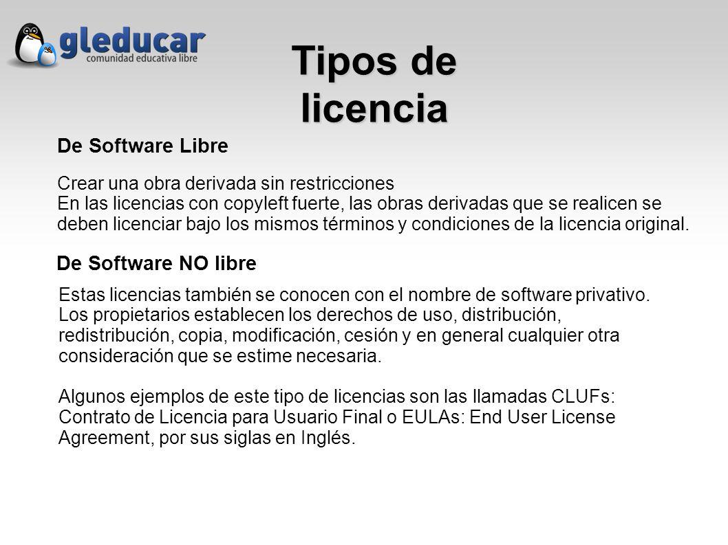 Tipos de licencia De Software Libre De Software NO libre Crear una obra derivada sin restricciones En las licencias con copyleft fuerte, las obras derivadas que se realicen se deben licenciar bajo los mismos términos y condiciones de la licencia original.