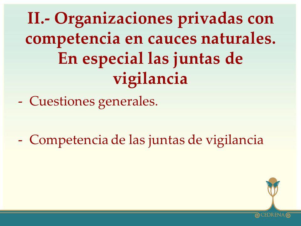 II.- Organizaciones privadas con competencia en cauces naturales.
