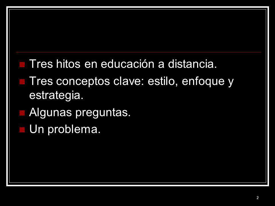 2 Tres hitos en educación a distancia. Tres conceptos clave: estilo, enfoque y estrategia. Algunas preguntas. Un problema.