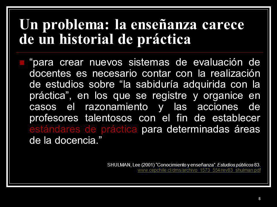 8 Un problema: la enseñanza carece de un historial de práctica para crear nuevos sistemas de evaluación de docentes es necesario contar con la realiza