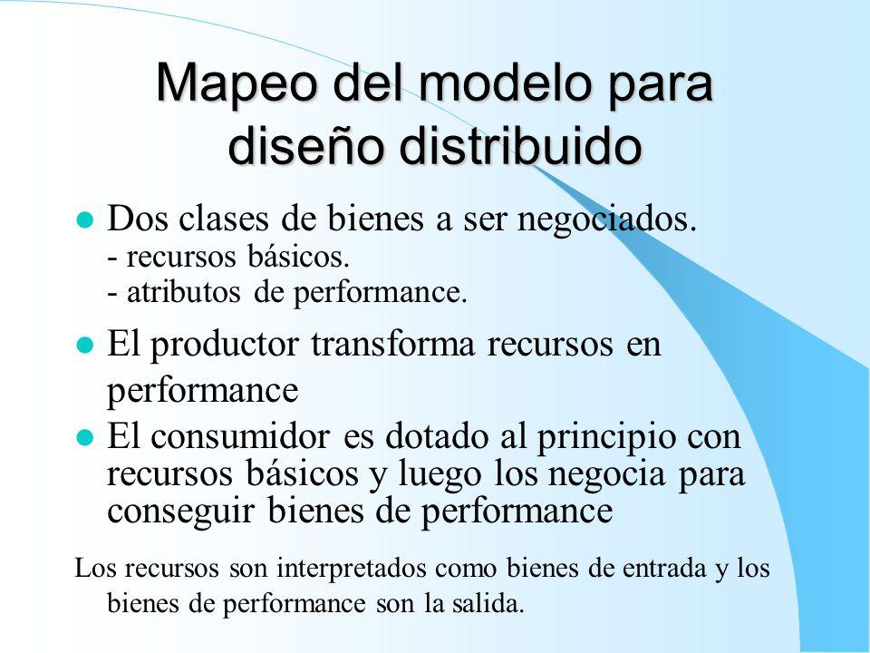 Mapeo del modelo para diseño distribuido l Dos clases de bienes a ser negociados.