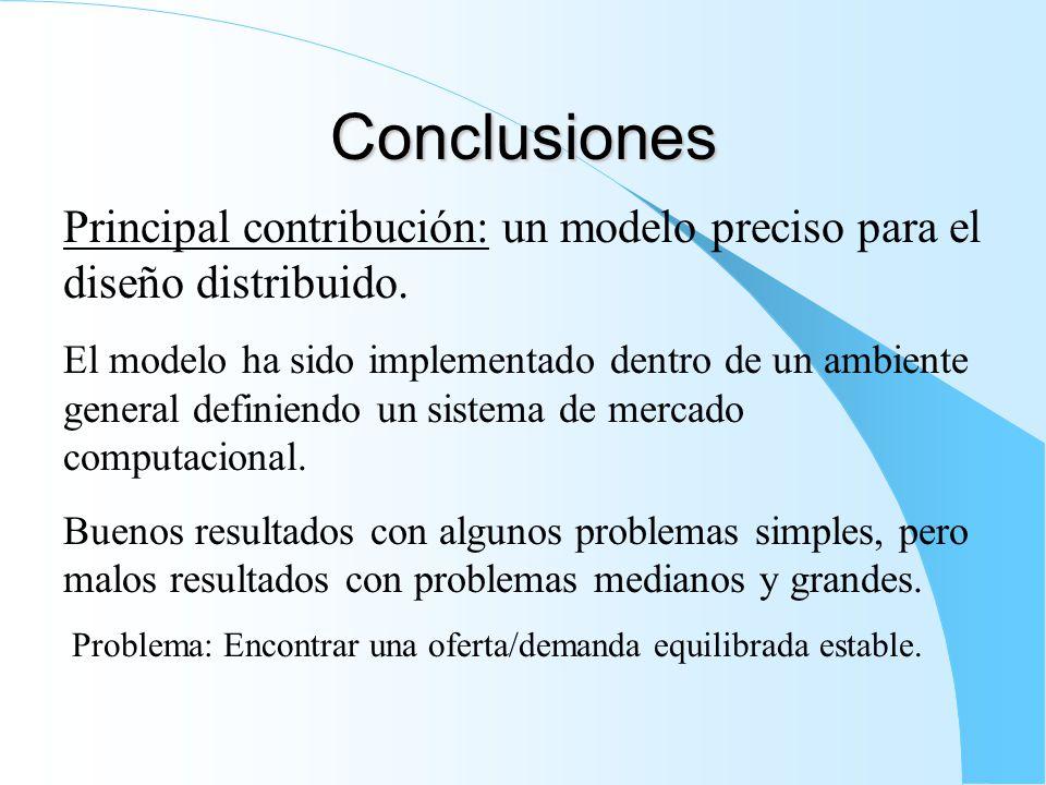Conclusiones Principal contribución: un modelo preciso para el diseño distribuido.