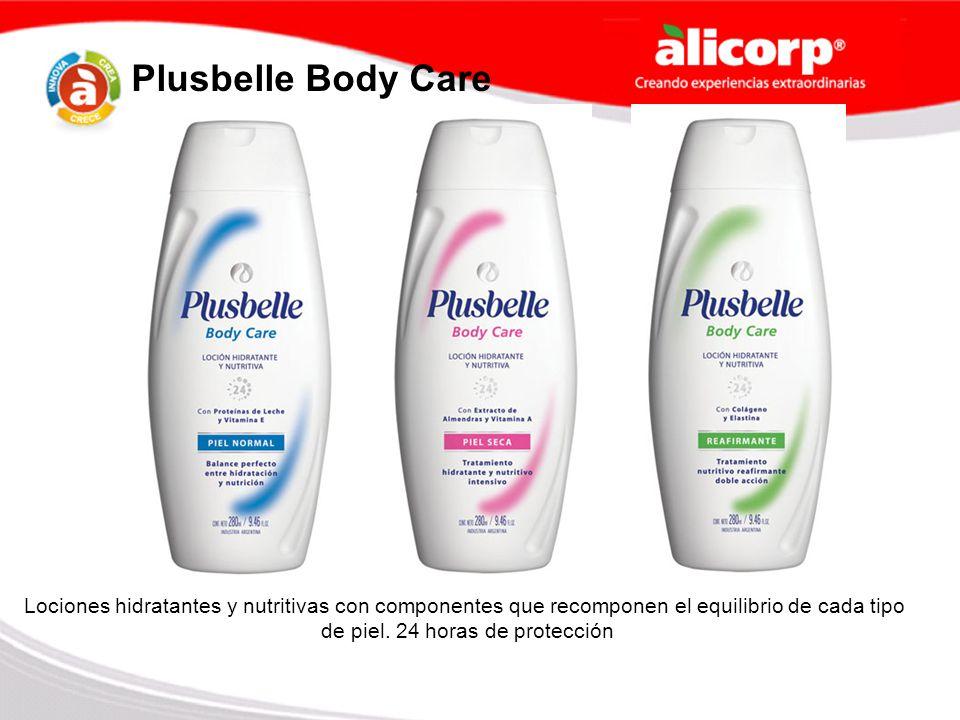 Plusbelle Body Care Lociones hidratantes y nutritivas con componentes que recomponen el equilibrio de cada tipo de piel. 24 horas de protección
