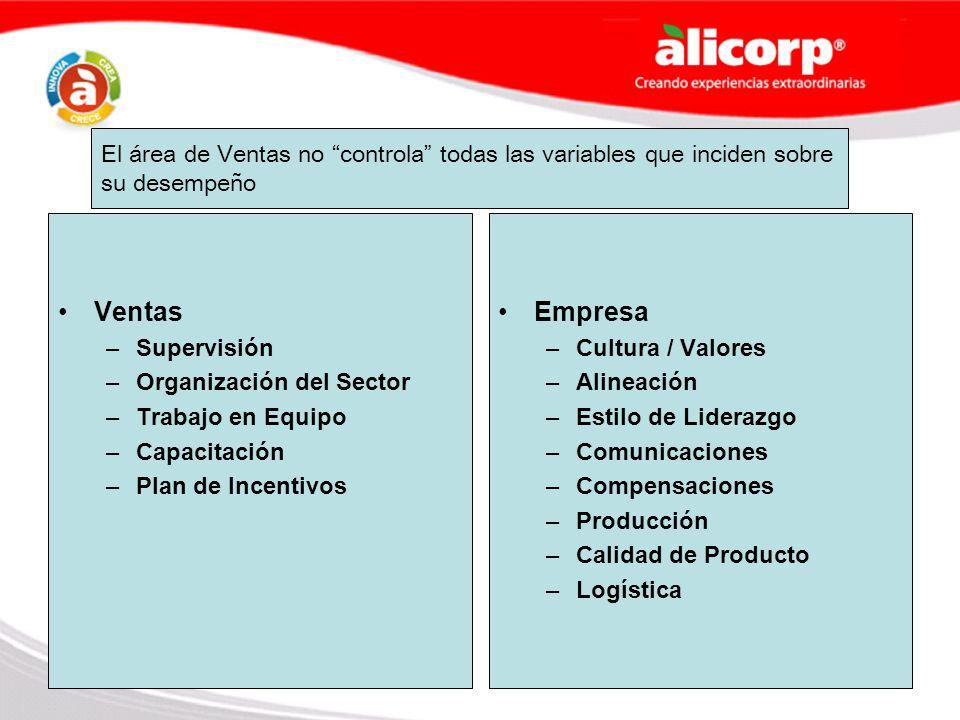 El área de Ventas no controla todas las variables que inciden sobre su desempeño Ventas –Supervisión –Organización del Sector –Trabajo en Equipo –Capa