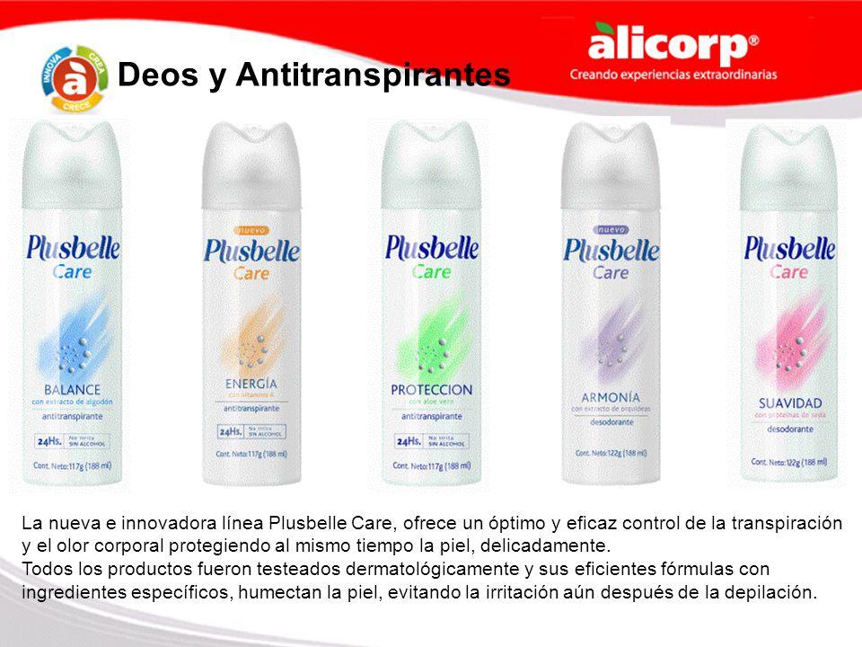 Deos y Antitranspirantes La nueva e innovadora línea Plusbelle Care, ofrece un óptimo y eficaz control de la transpiración y el olor corporal protegie