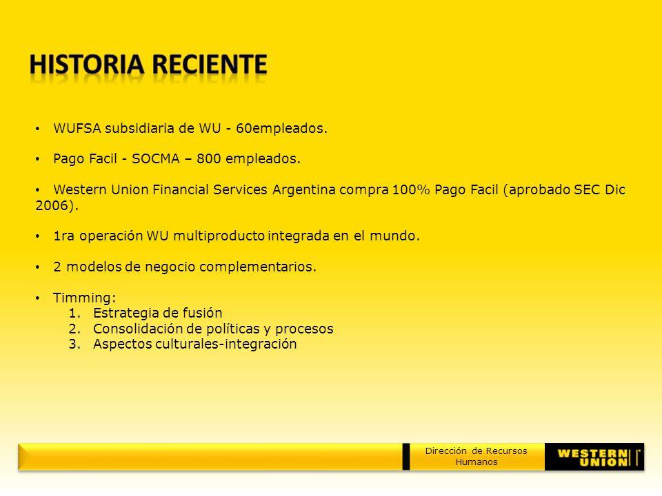 Dirección de Recursos Humanos WUFSA subsidiaria de WU - 60empleados. Pago Facil - SOCMA – 800 empleados. Western Union Financial Services Argentina co