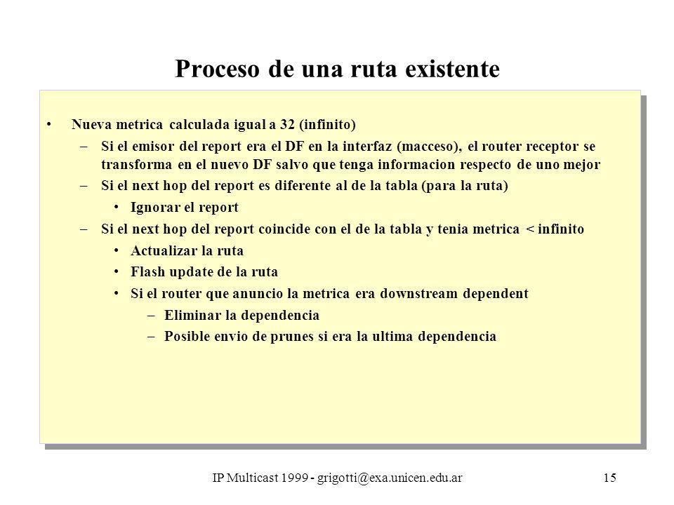 IP Multicast 1999 - grigotti@exa.unicen.edu.ar15 Proceso de una ruta existente Nueva metrica calculada igual a 32 (infinito) –Si el emisor del report era el DF en la interfaz (macceso), el router receptor se transforma en el nuevo DF salvo que tenga informacion respecto de uno mejor –Si el next hop del report es diferente al de la tabla (para la ruta) Ignorar el report –Si el next hop del report coincide con el de la tabla y tenia metrica < infinito Actualizar la ruta Flash update de la ruta Si el router que anuncio la metrica era downstream dependent –Eliminar la dependencia –Posible envio de prunes si era la ultima dependencia Nueva metrica calculada igual a 32 (infinito) –Si el emisor del report era el DF en la interfaz (macceso), el router receptor se transforma en el nuevo DF salvo que tenga informacion respecto de uno mejor –Si el next hop del report es diferente al de la tabla (para la ruta) Ignorar el report –Si el next hop del report coincide con el de la tabla y tenia metrica < infinito Actualizar la ruta Flash update de la ruta Si el router que anuncio la metrica era downstream dependent –Eliminar la dependencia –Posible envio de prunes si era la ultima dependencia