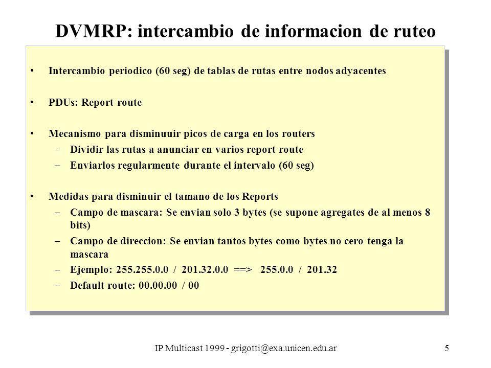 IP Multicast 1999 - grigotti@exa.unicen.edu.ar5 DVMRP: intercambio de informacion de ruteo Intercambio periodico (60 seg) de tablas de rutas entre nodos adyacentes PDUs: Report route Mecanismo para disminuuir picos de carga en los routers –Dividir las rutas a anunciar en varios report route –Enviarlos regularmente durante el intervalo (60 seg) Medidas para disminuir el tamano de los Reports –Campo de mascara: Se envian solo 3 bytes (se supone agregates de al menos 8 bits) –Campo de direccion: Se envian tantos bytes como bytes no cero tenga la mascara –Ejemplo: 255.255.0.0 / 201.32.0.0 ==> 255.0.0 / 201.32 –Default route: 00.00.00 / 00 Intercambio periodico (60 seg) de tablas de rutas entre nodos adyacentes PDUs: Report route Mecanismo para disminuuir picos de carga en los routers –Dividir las rutas a anunciar en varios report route –Enviarlos regularmente durante el intervalo (60 seg) Medidas para disminuir el tamano de los Reports –Campo de mascara: Se envian solo 3 bytes (se supone agregates de al menos 8 bits) –Campo de direccion: Se envian tantos bytes como bytes no cero tenga la mascara –Ejemplo: 255.255.0.0 / 201.32.0.0 ==> 255.0.0 / 201.32 –Default route: 00.00.00 / 00
