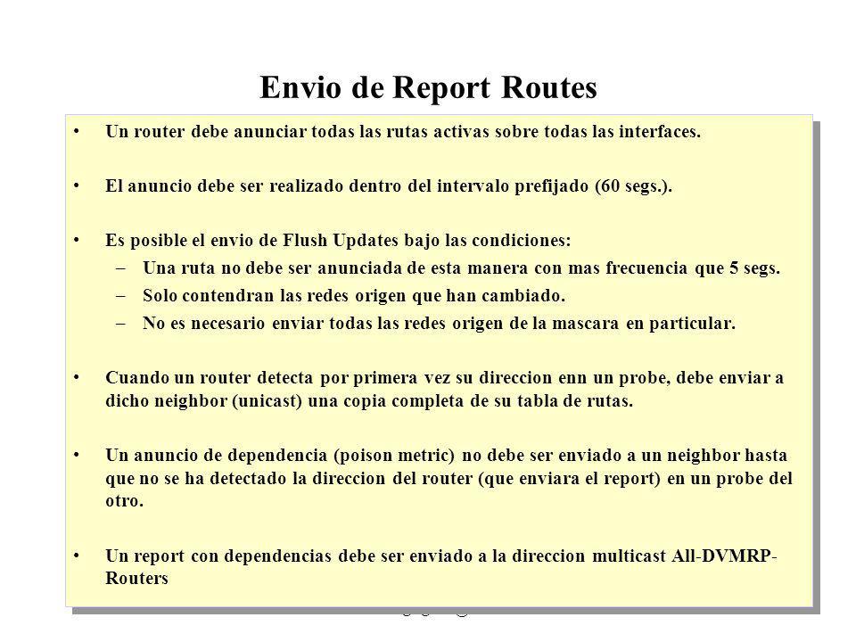 IP Multicast 1999 - grigotti@exa.unicen.edu.ar8 Envio de Report Routes Un router debe anunciar todas las rutas activas sobre todas las interfaces. El
