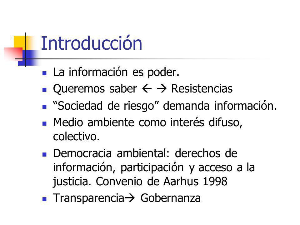 Introducción La información es poder. Queremos saber Resistencias Sociedad de riesgo demanda información. Medio ambiente como interés difuso, colectiv