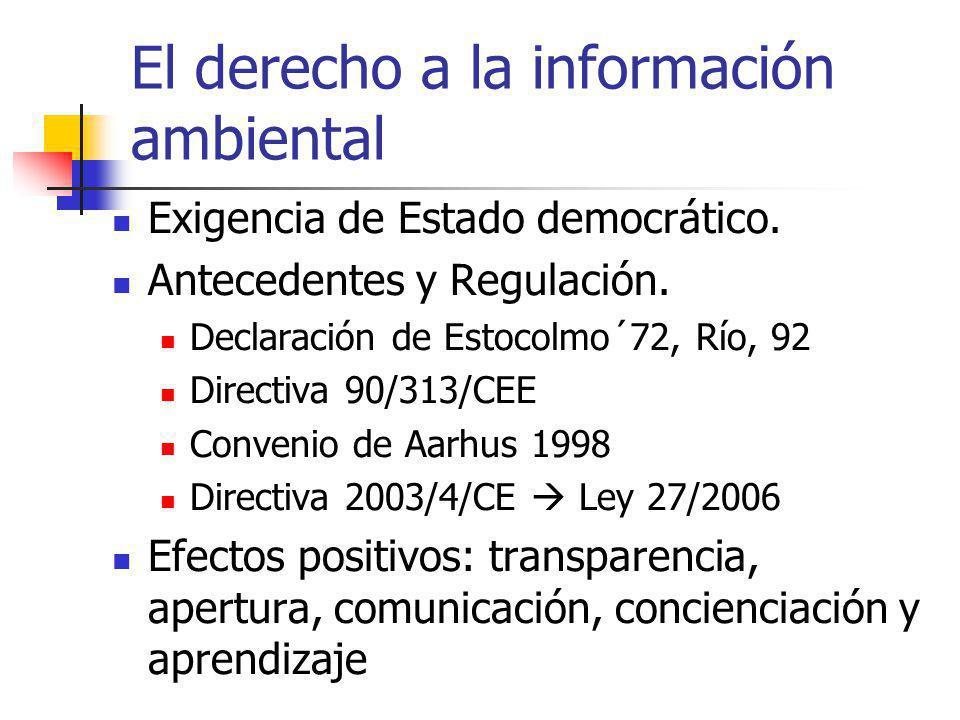 El derecho a la información ambiental Exigencia de Estado democrático. Antecedentes y Regulación. Declaración de Estocolmo´72, Río, 92 Directiva 90/31