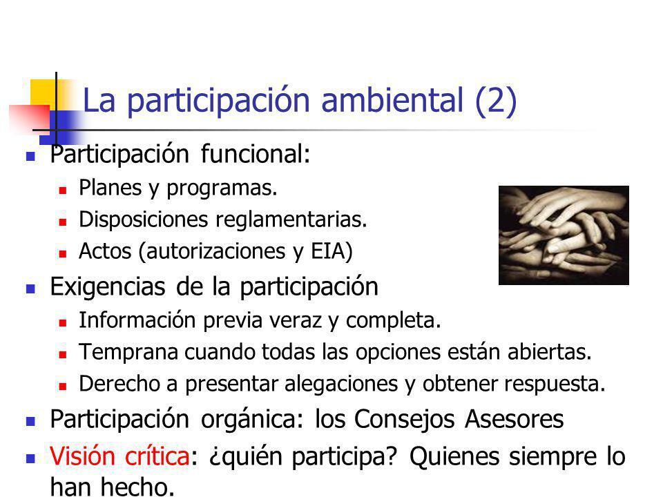 La participación ambiental (2) Participación funcional: Planes y programas. Disposiciones reglamentarias. Actos (autorizaciones y EIA) Exigencias de l
