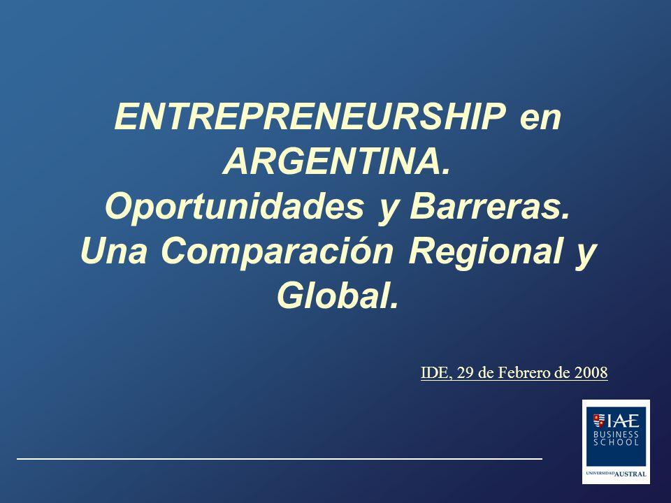 ENTREPRENEURSHIP en ARGENTINA. Oportunidades y Barreras.
