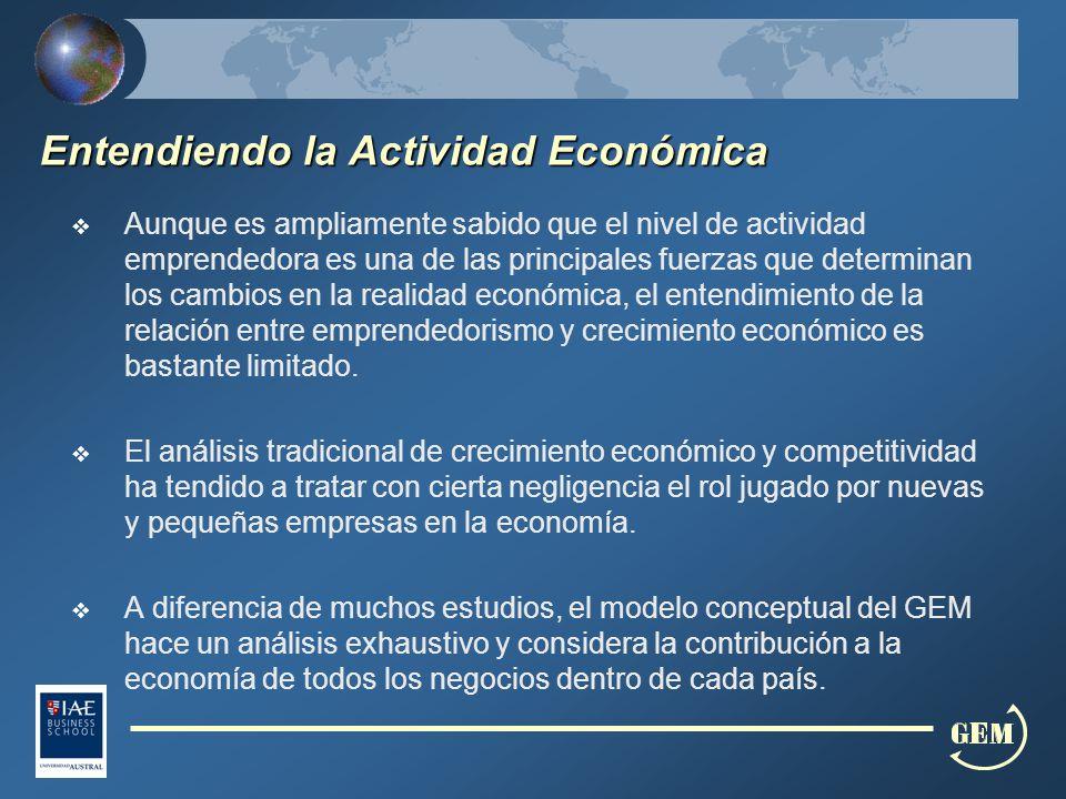 Entendiendo la Actividad Económica Aunque es ampliamente sabido que el nivel de actividad emprendedora es una de las principales fuerzas que determinan los cambios en la realidad económica, el entendimiento de la relación entre emprendedorismo y crecimiento económico es bastante limitado.