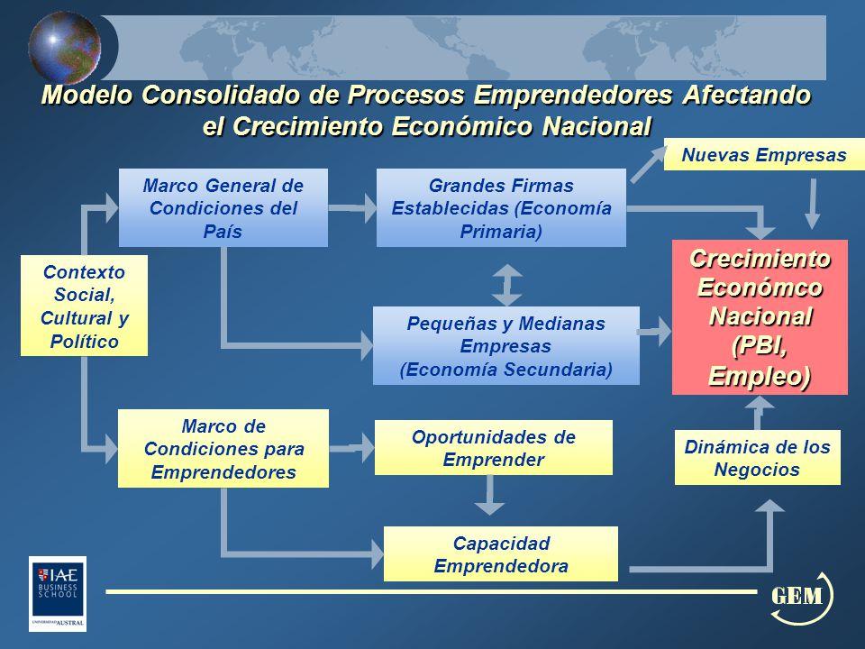 Contexto Social, Cultural y Político Capacidad Emprendedora Oportunidades de Emprender Marco de Condiciones para Emprendedores Marco General de Condiciones del País Grandes Firmas Establecidas (Economía Primaria) Pequeñas y Medianas Empresas (Economía Secundaria) Dinámica de los Negocios CrecimientoEconómcoNacional (PBI, Empleo) Modelo Consolidado de Procesos Emprendedores Afectando el Crecimiento Económico Nacional Nuevas Empresas