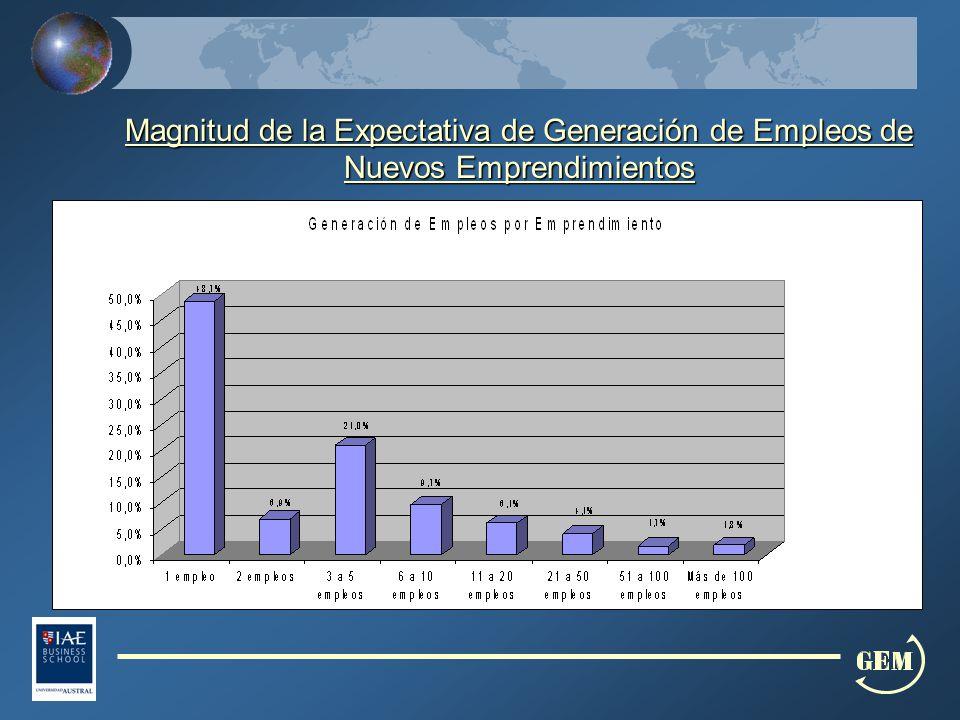 Magnitud de la Expectativa de Generación de Empleos de Nuevos Emprendimientos