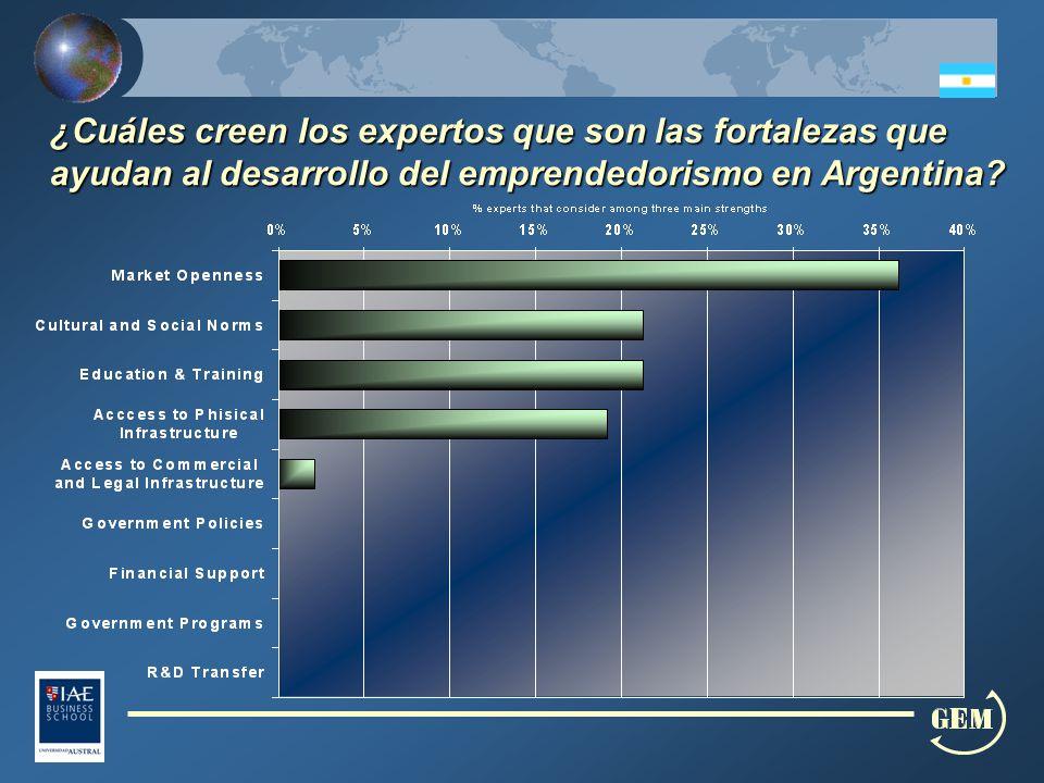 ¿Cuáles creen los expertos que son las fortalezas que ayudan al desarrollo del emprendedorismo en Argentina