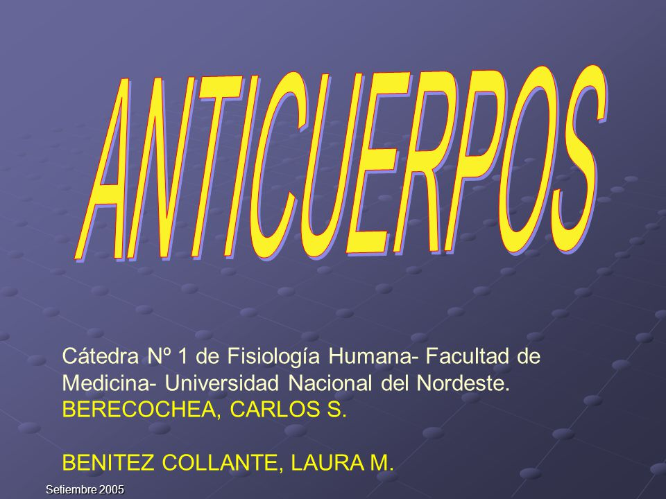 Setiembre 2005 Cátedra Nº 1 de Fisiología Humana- Facultad de Medicina- Universidad Nacional del Nordeste. BERECOCHEA, CARLOS S. BENITEZ COLLANTE, LAU