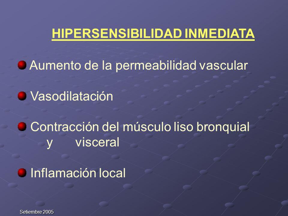 Setiembre 2005 Aumento de la permeabilidad vascular Vasodilatación Contracción del músculo liso bronquial y visceral Inflamación local HIPERSENSIBILID