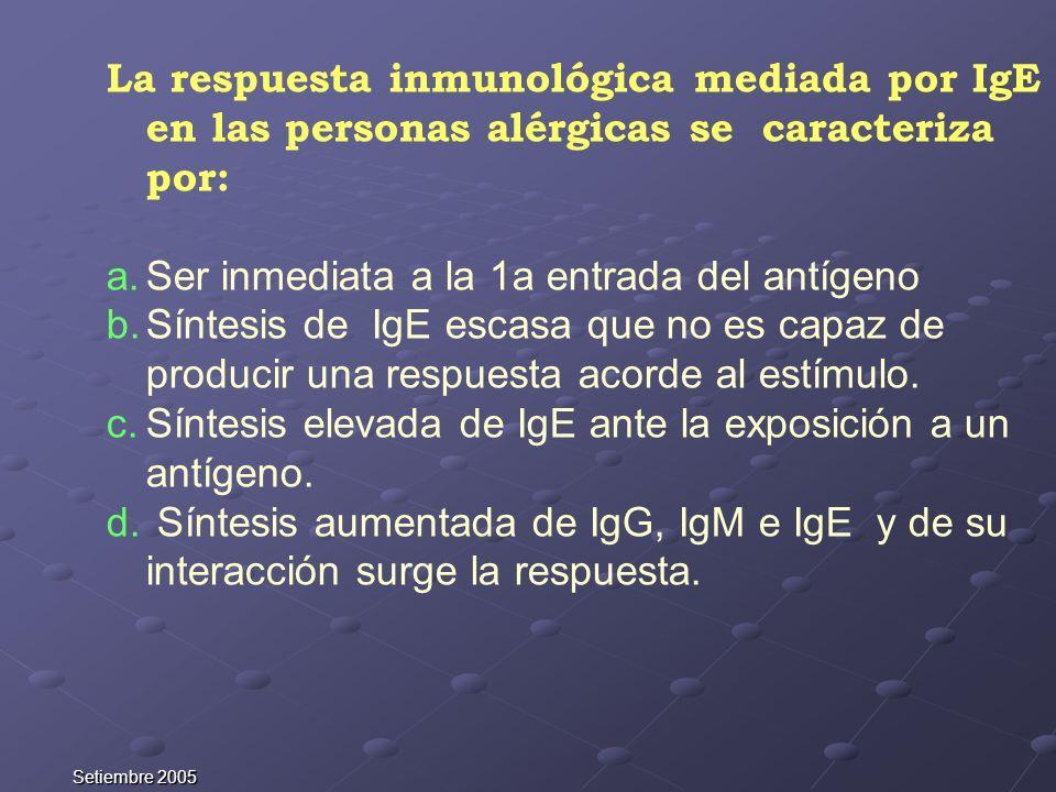 Setiembre 2005 La respuesta inmunológica mediada por IgE en las personas alérgicas se caracteriza por: a.Ser inmediata a la 1a entrada del antígeno b.