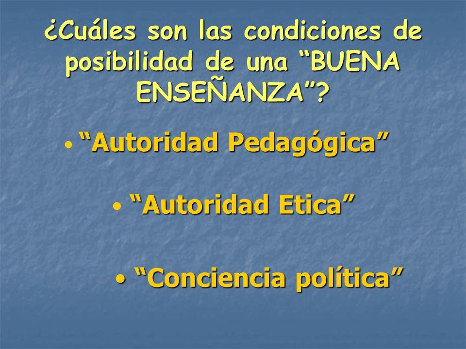¿Cuáles son las condiciones de posibilidad de una BUENA ENSEÑANZA? Autoridad Pedagógica Autoridad Etica Conciencia política Conciencia política