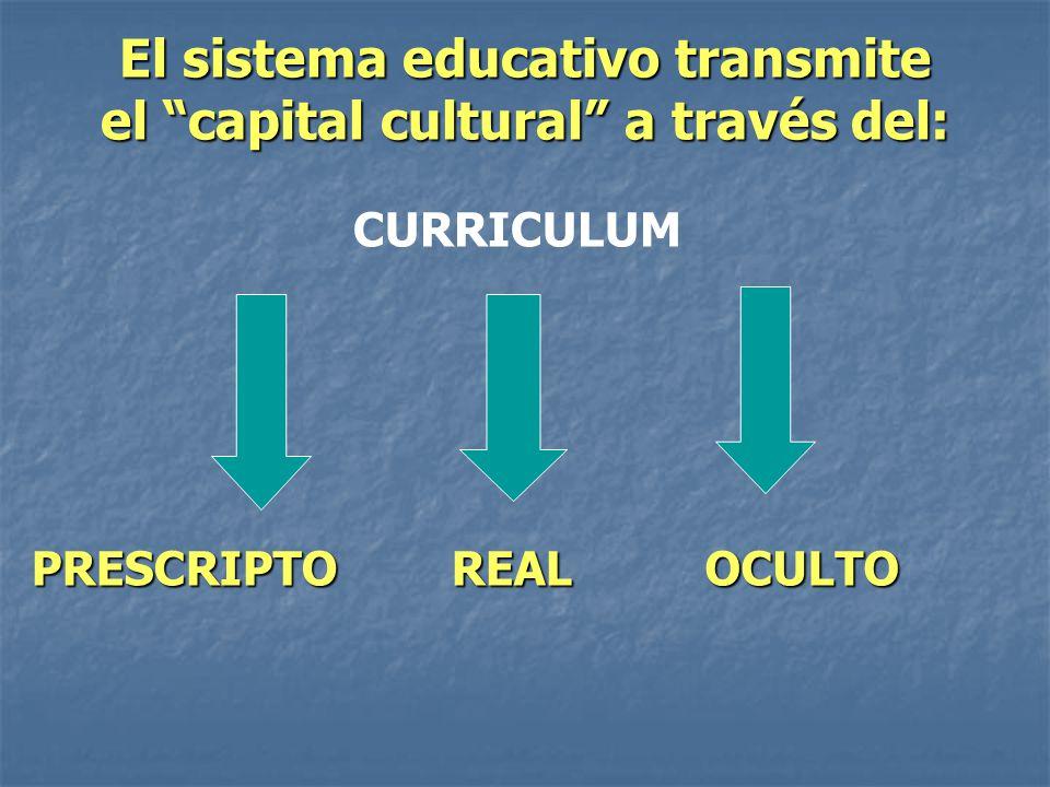 El sistema educativo transmite el capital cultural a través del: CURRICULUM PRESCRIPTOREALOCULTO