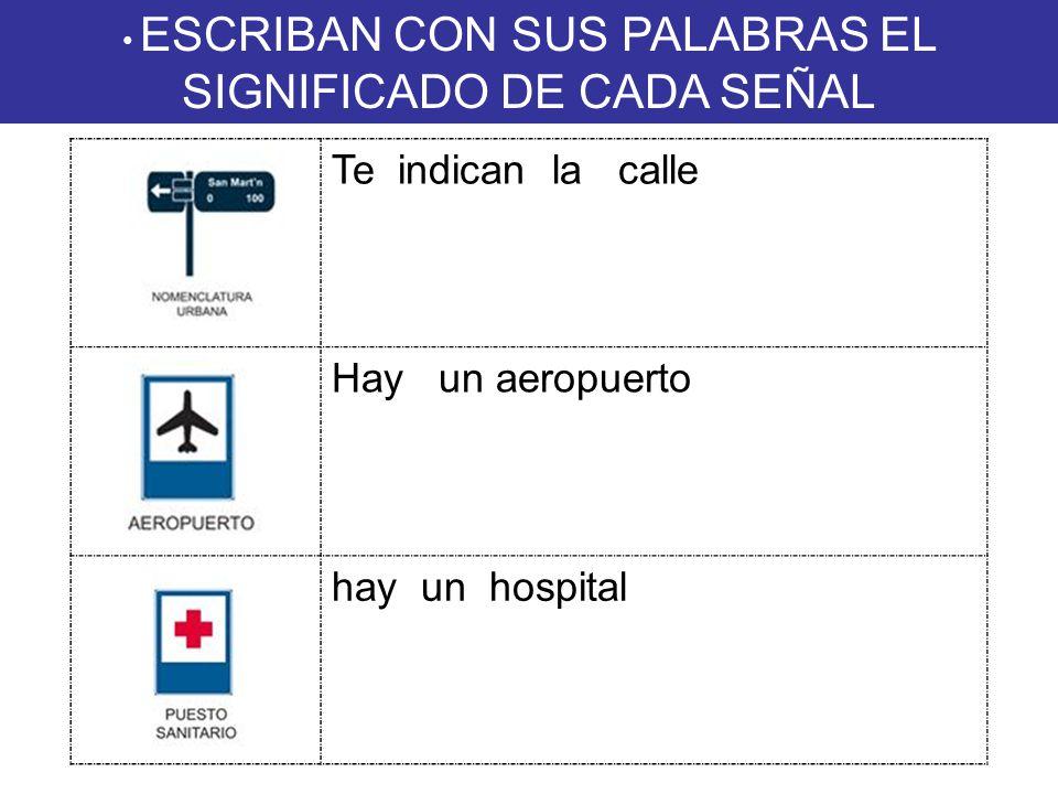 ESCRIBAN CON SUS PALABRAS EL SIGNIFICADO DE CADA SEÑAL Te indican la calle Hay un aeropuerto hay un hospital