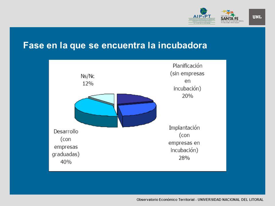 Fase en la que se encuentra la incubadora Observatorio Económico Territorial - UNIVERSIDAD NACIONAL DEL LITORAL